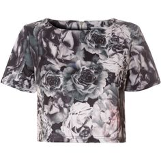 Grey Rose Print Scuba Crop Top (£21) ❤ liked on Polyvore featuring tops, grey, pattern tops, rose print top, crop top, gray top and short sleeve crop top