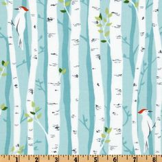Michael Miller Backyard Baby Birch Forest Aqua, $9/yd...beautiful for a woodland or winter party.