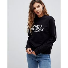 Cheap Monday Win Doodle Logo Sweater ($50) ❤ liked on Polyvore featuring tops, sweaters, black, crew sweater, fitted sweater, knitwear sweater, fitted tops and skull print sweater