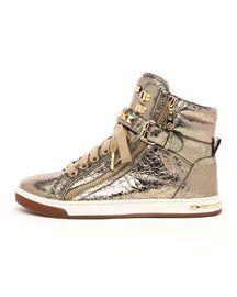 X1FLW MICHAEL Michael Kors Metallic Glam Studded High-Top