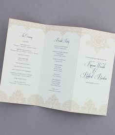 DIY Pearls & Lace trifold wedding program template from Download & Print