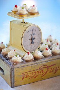 Vintage scale as cupcake display. Crystal and Crates Vintage Rentals has the scale and the crate. Fondant Cupcake Toppers, Cupcake Wars, Cupcake Stands, Cookie Display, Cupcake Display, County Fair Birthday, Farm Birthday, Wedding Cupcakes, Valentine Cupcakes