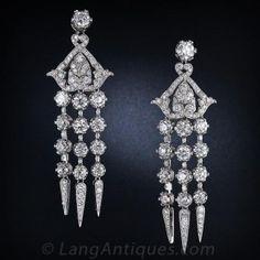 Diamond Platinum Edwardian Style Chandelier Earrings