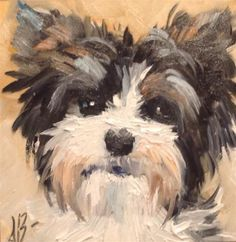 Parti Yorkie face  By Annette Balesteri www.dailypaintworks.com