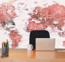 Adesivo de Parede – Mapa-múndi Educativo Vermelho