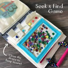 iSpy Seek and Find Game Quiet Book Page Diy Quiet Books, Baby Quiet Book, Felt Quiet Books, Quiet Time Activities, Infant Activities, Sensory Book, Quiet Book Patterns, Toddler Books, Montessori Toys