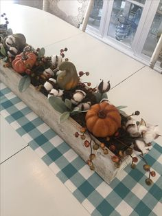 #Cotton #Autumn #lambsear #turquoise #rusticdecor #farmhouse #falldecor #woodboxcenterpieces