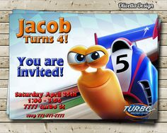 Turbo Birthday Party Invitation  Digital File by OlivettaDesign, $6.00
