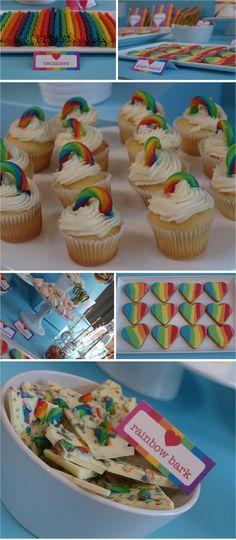 Rainbow Party  Rainbow Bark, Rainbow heart cookies (bday to ballet, gymnastics, class)