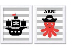 Pirate Nursery Art Set of 2 Prints Nautial by KidsNurseryArt