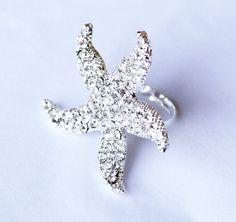 Rhinestone starfish ring,  $19.00, via Etsy.