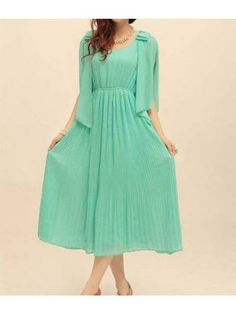 Light Green Round Collar Maxi Dress for Woman