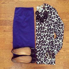 Leopard Sweater, Blue Pencil Skirt, J.Crew Emery Bow Flats | #workwear #officestyle #liketkit | www.liketk.it/Ym0w | IG: @whitecoatwardrobe