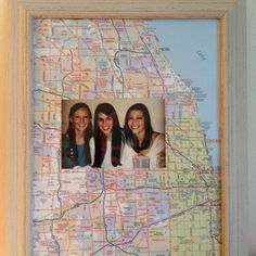 Going away gift for a friend. Frames a picture of us with a map of our current city for her to take to get new home
