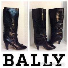 BALLY Leather Knee High Boots Made In Italy BALLY Leather Black Pull On Style Knee High Boots Made In Italy Sz 8 1/2 BUT these run small listing as an 8. Excellent condition gently worn very light signs of wear thanks for looking. BALLY Shoes Over the Knee Boots