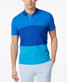 Tommy Hilfiger Men's Custom Fit Brody Colorblocked Polo Tommy Hilfiger T Shirt, Preppy Style, Polo Ralph Lauren, Fitness, Mens Tops, How To Wear, Fashion Tips, Shirts, Fashion Hacks