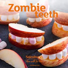 This healthier Halloween recipe is so easy to make and so spooky to eat. Kids will love making their own zombie teeth with thick apple slices, sticky toffee sauce and mini marshmallows