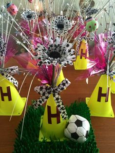 Soccer banquet centerpieces