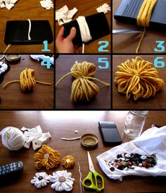 Simple DIY – Yarn Flowers- sight is deleted, but the picture shows enough Diy Yarn Flowers, Making Fabric Flowers, Flower Crafts, Paper Flowers, Diy Crafts For Teens, Diy For Kids, Crafts To Make, Diy Gifts For Boyfriend, Crafty Craft