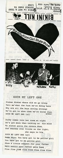 "From ""The Riot Grrrl Collection; The Fales Library & Special Collections New York University. The cassette cover of Bikini Kill's Revolution Girl Style Now."""