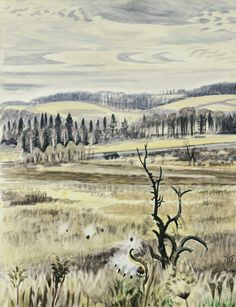 """Charles Burchfield, 1893-1967, November Landscape, 1946. Opaque and transparent watercolor over charcoal, on wove paper. 33-7/8"""" x 26"""", Wadsworth Atheneum, Hartford, CT"""