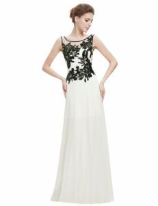 Chiffon Lace Maxi Dress with Bateu Neckline Types Of Dresses Styles, Different Types Of Dresses, Dress Types, White Floral Dress, White Maxi Dresses, Lace Dress, Bride Dresses, Lace Chiffon, White Gowns