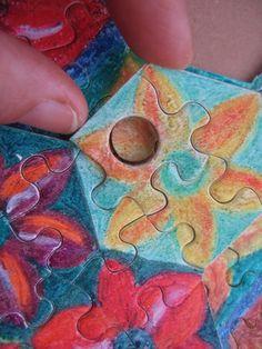 """Puzzle """"O Vôo do Beija-Flor"""" - Método """"buraco/botão"""" para possibilitar o movimento II - Por Antônia Sobral"""