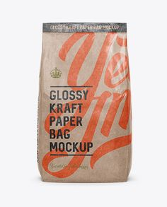Glossy Kraft Paper Bag Mockup - Front View. Preview