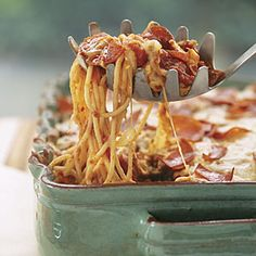 Pizza Spaghetti Casserole | Destined to become your kids' new favorite meal, this easy casserole recipe combines two classic family favorites: pepperoni pizza and spaghetti. Unbaked, the casserole can stay frozen for up to a month so prepare extra and save for a busy day.