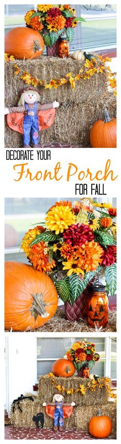 How to easily decorate your front porch with hay bales, scarecrows, pumpkins and mums. Choose the right pieces and you can set this up at the end of September and leave it up until after Thanksgiving! Perfect for fall, Halloween and Thanksgiving, with a few small changes for each holiday.