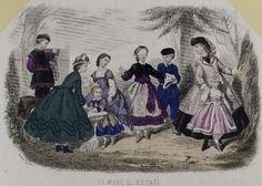 Fashion print with children ca 1860. Blind Man's Bluff.