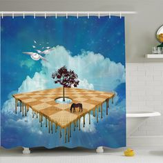 Abstract Art Surreal Landscape Shower Curtain Set