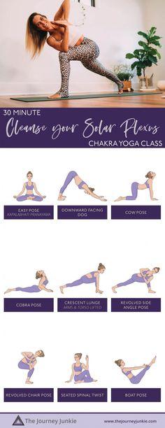 30 Min Chakra Yoga Flow: Cleanse Your Solar Plexus Chakra - The Journey Junkie Yoga Flow Sequence, Yoga Sequences, Yoga Poses, Ashtanga Yoga, Kundalini Yoga, Iyengar Yoga, Pranayama, Yoga Meditation, Solar Plexus Chakra Healing