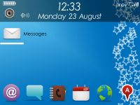 Free Blackberry Themes Aqua-Robics.  compatible series 83xx, 87xx, 88xx.  Features: * User definable home screen icons - non touch screen versions have 7 icons - Storm versions have 9 icons - 9100 version has 8 icons - 8200 verison has 9 icons * New custom made 3D icon set for all apps* Blue stary wallpaper * Home screen is wallpaper friendly* Abstract blue wallpaper for call screens* Dark grey and blue colour scheme for menus * Fast and simple theme to use and naviagate