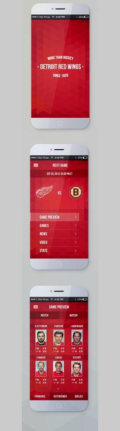 Detroit Red Wings mobile app UI by Mika Mäkelä, via Behance