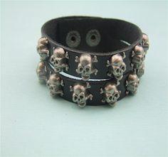 vintage skull charms punk style leather bracelet  personalized black/brown leather bracelet suede bangle hip hop chunky bracelet by littledandeliondream on Etsy