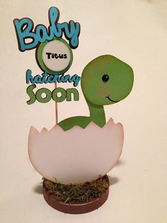 Hey, I found this really awesome Etsy listing at http://www.etsy.com/listing/174875747/baby-dino-dinosaur-centerpiece-baby