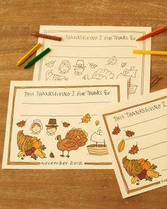 Kids' Thanksgiving Place Mats