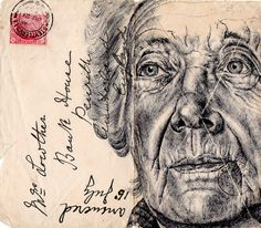 New Portraits Drawn on Vintage Envelopes by Mark Powell. Powell executes each drawing with a standard Bic Biro pen using stamped and faded envelopes that traversed the European postal system more than a century ago. Mark Powell, Biro Drawing, Lady Drawing, Realistic Sketch, Art Aquarelle, Old Letters, Poster Art, Envelope Art, Colossal Art