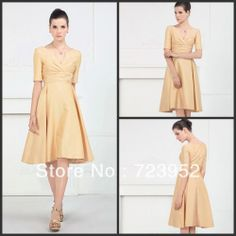 Free Shipping Taffta Pleat Modest bridesmaid Dress With Short Sleeves US $89.00