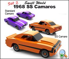 "Plan Set Description: Plan set includes the Standard Camaro and the SS Camaro. Both Camaros are 4-3/4"" L x 1-3/4"" W x 1-3/4"" H. Toys are 1:43 scale - standard modelmakers scale. Same scale as all Small World Toy Plans. Color 8-1/2"" x 11"" pages with black & white pattern pages."