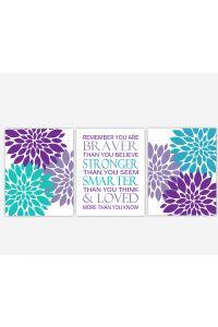 Lavender Wall Art purple aqua lavender teal flower prints girl bedroom art wall