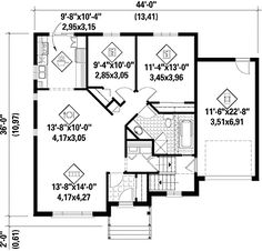 First Floor Plan of Colonial House Plan 62715 The middle bedroom