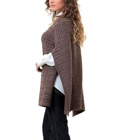 Beautiful Brown Cable-Knit Poncho