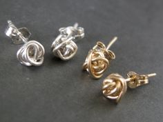 Tiny Teeny Tornado Posts 14K gold filled wire stud earrings. $28.00, via Etsy.