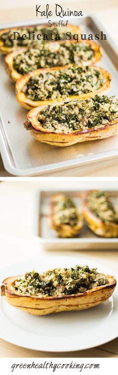 This vegan Kale Quinoa Stuffed Delicata Squash recipe is the perfect meatless dinner providing essential protein and iron and lots of Vitamin A and C. (White Squash Recipes)