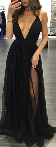 #outfit #ideas / black slit deep v neck maxi dress