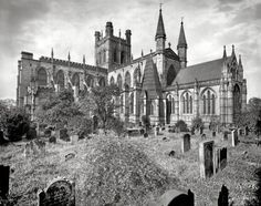 """BUY PRINT    Circa 1910. """"Chester Cathedral, England. Major construction 11th-15th century."""" 8x10 inch dry plate glass negative, Detroit Publishing Company. 