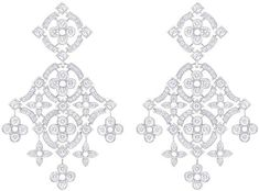 Louis VUitton White gold pendant earrings, 131 diamonds (2.31 kt)