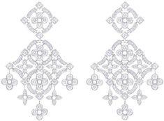 Louis VUitton White gold pendant earrings, 131 diamonds (2.31 kt)
